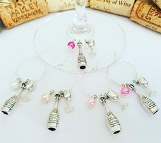 Bridal Shower Favors Wine Glass Charms Set of 5 Wine Theme