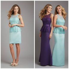 This peplum bridesmaid dress can be ordered in either long or short with a combination of different colors! www.thewhitedressbridal.com