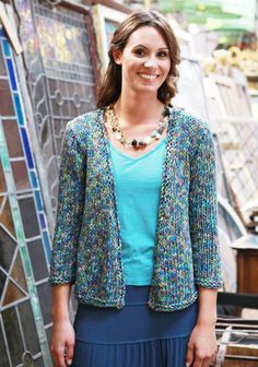 Free Pattern A super quick knit, Samos is the perfect buttonless cardigan to throw on over a sleeveless dress this summer