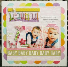 beautiful baby scrapbook page with punched circle border