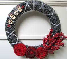 xoxo wreath #berries #yarn #wreath