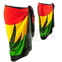 This sarong features a marijuana leaf with the rasta colors in the background. Comes with a coconut sarong holder that helps hold up your sarong. The sarong can be wore multiple ways. Rasta Dress, Rasta Party, Stoner Style, Weed Girls, Bob Marley, Reggae, Cute Outfits, Summer, Clothes For Women