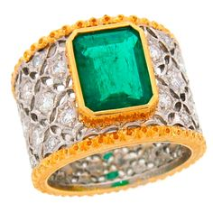 MARIO BUCCELLATI Emerald Diamond Gold Ring | From a unique collection of vintage cocktail rings at http://www.1stdibs.com/jewelry/rings/cocktail-rings/