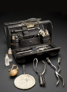 Destructive and non-destructive instruments are contained in this leather bag. It belonged to a male midwife. The tools were used during childbirth. The obstetric forceps were standard delivery tools. Others, such as the perforators, were destructive. Also in the bag are apparatus for anaesthesia and seven glass jars containing medication. These included chloroform and brandy. The obstetrician may have also carried opium and ergotamine. Opium relieved pain and ergotamine stopped the…