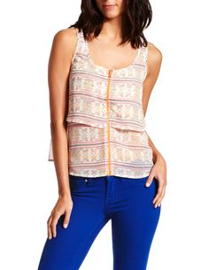 Neon Zip Layered Tank, $23