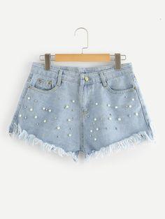 Stagioni Fashion for Women, Denim Shorts for Women. Item: Faux Pearl Beading Raw Hem Denim Shorts for Women Cute Casual Outfits, Short Outfits, Casual Shorts, Summer Outfits, Jean Moda, Cute Shorts, Distressed Denim, Ripped Denim, Aesthetic Clothes