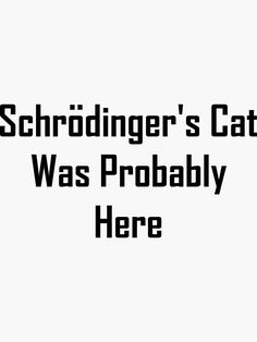 'Schrodinger's Cat Was Probably Here' Sticker by geeknirvana Schrodingers Cat, School Quotes, Quantum Physics, Big Bang Theory, Bigbang, Sticker Design, Haha, Weird, Jokes