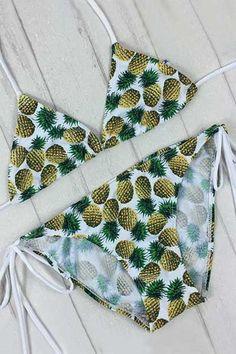 Pineapple Print Tie-Side Bikini Set