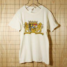 FRUIT OF THE LOOM/USA製70sビンテージ古着/ホワイトTAUCH BERTLプリントTシャツ/メンズM/メンズS相当