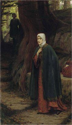 """Forrest Tryst"". (by Edmund Blair Leighton)."