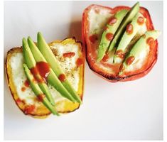 Bell Pepper and Eggs topped with Sliced Avocado #recipe #eatsmart