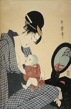Mother with a Child at the Mirror By Kitagawa Utamaro
