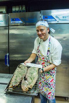 Michelin Star Chef Cedroni Moreno at work in his kitchen of restaurant Madonnina del Pescatore in Senigallia, Le Marche, Italy.