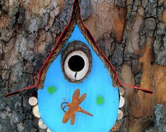 bird house, Birdhouse, Whimiscal birdhouse in color options with dragon fly and wire fret work, garden art, in color options Fairy Tree Houses, Rain Design, Rustic Chair, White Fence, Birdhouse, Accent Colors, Color Trends, Paint Colors, Dragon