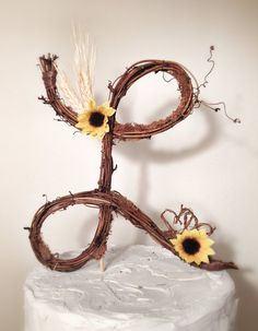 Rustic Twig Monogram Letter Wedding Cake Topper- Personalized- Any Letter