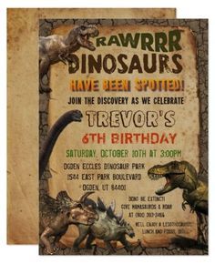ANY AGE - Dinosaur Birthday Invitations. Rawwrr! Take a trip back to prehistoric times with this fun Dinosaur invitation. The kids will have a Dino-mite Birthday time. Dinosaur themed birthday party