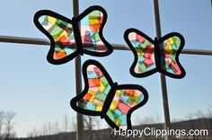 Stained Glass Butterflies (Kids Craft) | HappyClippings.com