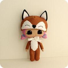 Peek-a-Boo Fox Pattern Kit by Gingermelon on Etsy Fox Pattern, Sewing Toys, Soft Dolls, Tiny Dolls, Pdf Patterns, Doll Patterns, Felt Toys, Peek A Boos, Softies