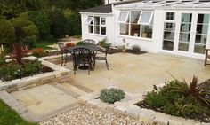 Natural Indian Limestone in Yellow designed & installed by Hill View Landscapes.