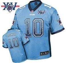 Nike Tennessee Titans Jersey #10 Jake Locker Light Blue Team Color With 15Th Season Patch NFL Elite Drift Fashion Jerseys