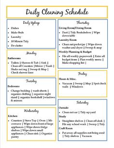 Cleaning schedule - like the way they are grouped, but I need to switch days around.