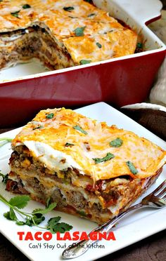 Taco Lasagna is a tasty casserole that's quite healthy. It's layered with flour tortillas cheese & a beef sauce with black beans. It's quick & easy too. Taco Casserole With Tortillas, Mexican Lasagna With Tortillas, Mexican Lasagna Recipes, Recipes With Flour Tortillas, Mexican Casserole, Mexican Dishes, Casserole Recipes, Mexican Lasagna Recipe With Noodles, Lasagne Recipes
