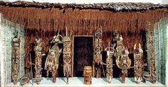 Malagan display. New Ireland Province, Papua New Guinea. c. 20th century C.E. Wood, pigment, fiber, and shell.