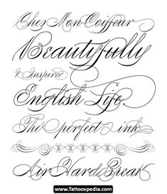 Tattoo Lettering Font Names