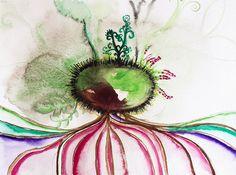 Semilla echando raíces... De mi serie: semillas. Acuarela sobre papel. #art
