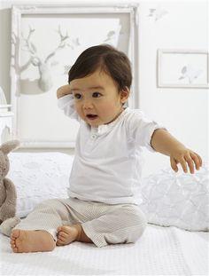 Pantalon lin coton bébé garçon RAYE BEIGE+BLANC - vertbaudet enfant