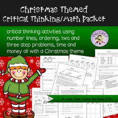 This is a fun pack of critical thinking/ math related worksheets.  There are mapping activities, number line problems, and money sheets.  All of this with a great Christmas theme.  Perfect to use in December.