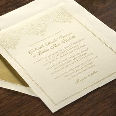 Golden Scroll Bordered Invitation eInvite Wedding Wedding Invitations Traditional