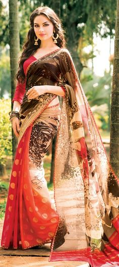 166382 Beige and Brown, Red and Maroon  color family Printed Sarees in Georgette fabric with Printed work   with matching unstitched blouse.