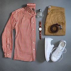 Yes or No :interrobang::fire: Follow for more menswear: @votrends :point_left::point_left: Outfit by:camera:: @stylesofman ___________________________________________ Shirt: @billskhakis Chinos: @nonationality07 Watch: @originalgrain Sneakers: @adidas #flatlay #flatlays #flatlayapp www.theflatlay.com
