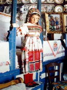 traditional Greek folk costume, Karpathos hours from Rhodes by boat) Greek Traditional Dress, Traditional Outfits, Tomboy Kids, Karpathos, Greek Design, Greek Culture, Folk Dance, Beautiful Costumes, We Are The World