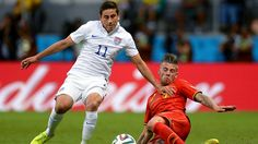 Alejandro Bedoya of the United States is tackled by Toby Alderweireld of Belgium during the 2014 FIFA World Cup Brazil Round of 16 match between Belgium and USA