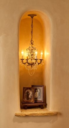 Violante & Rochford Interiors - Interior Design, Santa Fe, NM — Las Campanas Transitional interesting inch with mini chandelier Niche Decor, Alcove Decor, Estilo Tropical, Santa Fe Style, Hacienda Style, Mexican Hacienda, Adobe House, Southwest Decor, Southwestern Style