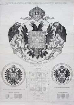 Arms of Emperor Ferdinand I of Austria, Lithografie by H. Holy Roman Empire, Modern Times, Floral Border, Ferdinand, Coat Of Arms, Lorraine, Emperor, Middle Ages, Genealogy