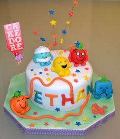 Gateau monsieur madame Mr and mrs cake Men Birthday, Birthday Parties, Mr Men Little Miss, Monsieur Madame, Men Party, Gateaux Cake, Cake Toppers, Food And Drink, Cakes