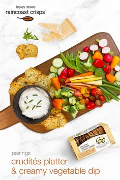 Crudités platter, creamy vegetable dip and lesley stowe raincoast cheese crisps™ parmesan and chive Crudite Platter, Cheese Crisps, Avocado Toast, Parmesan, Dips, Vegetables, Breakfast, Food, Vegetable Dips