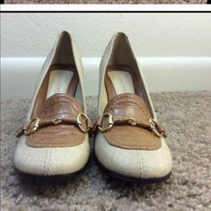 """Beige linen look with leather accent. Super cute beige linen with a vintage look. Leather accent, hill is 3.5"""". Worn once or twice but in excellent condition. Highlights Shoes Heels"""