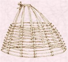 Crinoline (Crinoline Cage 1863)- a device/method for holding out women's skirts; The crinoline cage was made from a series of either whalebone or steel hoops that were sewn onto tapes or into a fabric skirt to make a hoop skirt, or cage crinoline. Shapes varied with changes in the fashionable silhouette.
