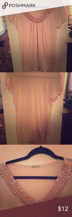 Dressy shirt Cream colored pink dress top. Pink pearls with diamonds on collar. In good condition. janette Tops Blouses