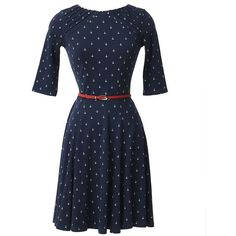 Unique Vintage Nautical Anchor Good Ship Knit Flare Dress ($88) ❤ liked on Polyvore featuring dresses, fit & flare dress, anchor print dress, sailor dress, blue dress e vintage knit dress