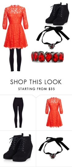 """Red and black my favorite"" by hoshiko-hitachiin ❤ liked on Polyvore featuring Valentino and Yves Saint Laurent"