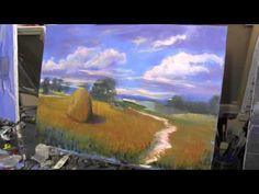 Пейзаж, пшеничное поле.Уроки для новичков, масляная живопись.И.Сахаров - YouTube