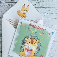 bursdagskort barn - skogens dyr - digital print - bye9design