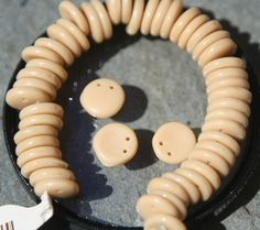 50 Vintage Czech glass beads beige by debsdesigns401 on Etsy