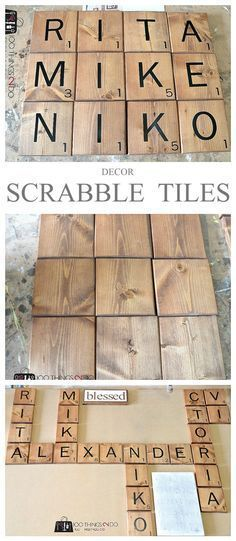 Create a warm, welcoming and fun gallery wall including your own Scrabble names. How to make Scrabble tiles as decor.