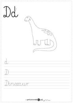 D jak dinozaur - karta pracy - Printoteka.pl